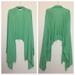 BCBGMaxAzria Green Draped Cardigan XS/S Silk Blend
